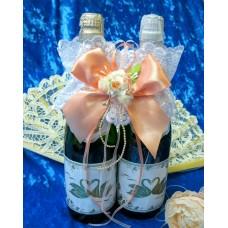 """Украшение на шампанское """"Цветок"""" SvetikFantasy Цвет: персик №5471.400"""