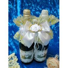 """Украшение на шампанское """"Два кольца"""" SvetikFantasy Цвет: белый №5473.400"""