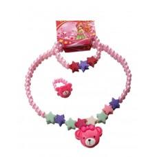 """Набор детский """"Выбражулька"""" звездный мишка, 3 предмета (кулон, браслет, кольцо) №1232.24"""