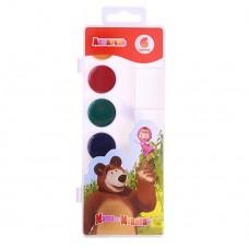 """Акварельные краски """"Маша и медведь"""", 6 цветов, в пластиковой упаковке, размер: 7,5х 20,5х 1,5 см №1329.35"""