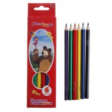 """Набор цветных карандашей """"Маша и медведь"""" толстые, трехгранные, 6 цветов, в картонной упаковке 5,7х21см"""