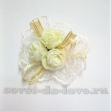 Цветочек-браслет Айвори 8см (отделка в ассортименте) №1754.55