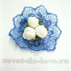 Цветочек-браслет голубой 8см №25073.112