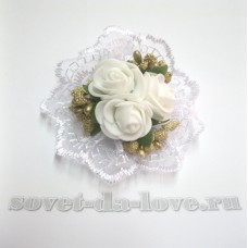 Цветочек-браслет белый-золото 8см №25076.112