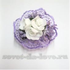 Браслет-цветок на резинке фиолетовый 25071.112