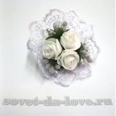 Цветочек-браслет белый-серебро 8см №25077.112