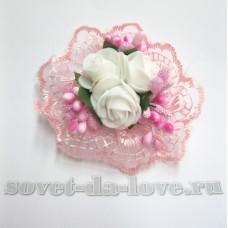 Цветочек-браслет розовый 8см №25076.112