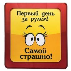 """Автомобильная наклейка """"Первый день за рулем - самой страшно!"""" 18х18см №1794.12"""