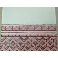Рушник х/б машинная вышивка цвет: белый с красным Размер: 180х42см №57.245