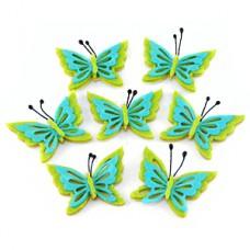 """Набор стикеров """"Бабочки"""" из фетра, 5x4 см, зелёный с голубым, 3 шт №397.24"""