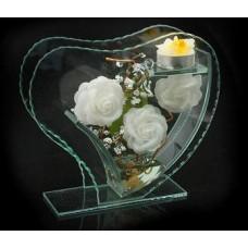 """Подсвечник стекло со свечой """"Сердце Волна Три розы"""" белые, высота 18см  №402283.390"""