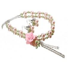 Комплект бижутерии  (колье серьги) Восторг цвет розовый №141.270