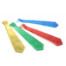 Галстук голография цвета в ассортименте  синий, розовый 47см пластик №481.15