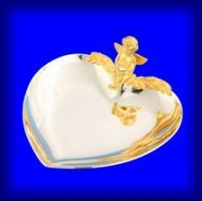 Блюдце для колец в виде сердца Амурчик с домашним очагом №70.420