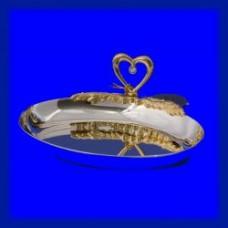 Блюдце для колец Серебрянное овальное с сердцем №72.420