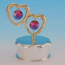 Шкатулка для колец серебряная с двумя сердцами с 2 красными хрусталиками №363380.449