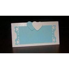 Карточка для гостей  SvetikFantasy, белая с голубым, с сердечкам №2.30
