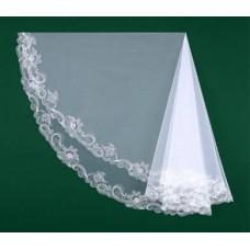 Фата вышитая белая, айвори Размер : 1,5метра №1722.700