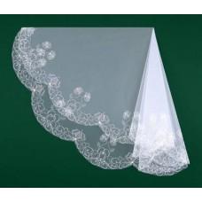 Фата вышитая белая, айвори Размер : 1,5метра №5636.700