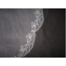 Фата вышитая  белый Размер : 1,5метра №56.540