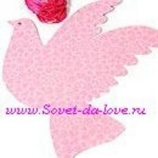 Подвеска Декорация свадебная голубь мелкие сердечки розовые (28x28.5)  №8.100