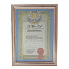 """""""Сертификат на право вождения тачки"""", в золотистой рамке Размер:19х25,5см  №117.175"""