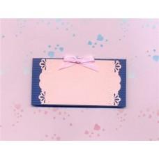 Карточка для гостей  SvetikFantasy, синяя с розовым, с бантиком №9.35