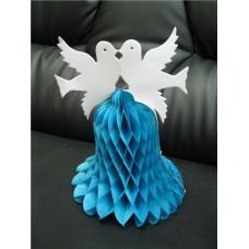 """Колокольчик """"2 голубя"""" Цвет: голуби белые, колокольчик голубой размер: 29 см №120.65"""