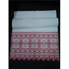 Рушник х/б машинная вышивка цвет:белый с красным Размер: 182х40см №28.240