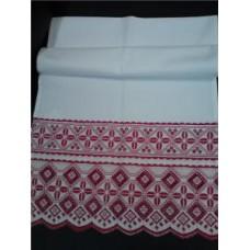 Рушник х/б машинная вышивка цвет:белый с красным Размер: 42х182см №29.260