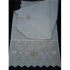 Рушник х/б машинная вышивка цвет:белый Размер:138х45см №37.515