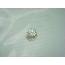 Пружинка цветочек стразы с жемчужиной Цвет: Серебро №41.15