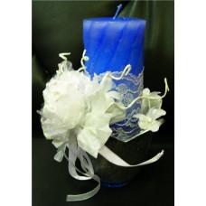 Свеча декоративная ароматизированная в вазочке. Цвет: синий №С109.427