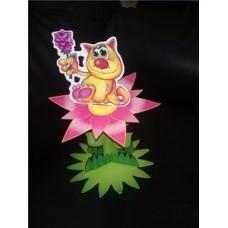 Цветок с кошкой (бумага, размер 23х14см) №10.45