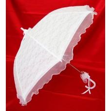 Зонт - трость белый кружевной