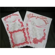 Комплект венчальный 4 предметный со стразами, рельефный цвет:белый с розовым
