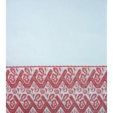 Рушник х/б машинная вышивка цвет: белый с красным Размер 180х42см  №670923.300