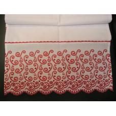 Рушник х/б машинная вышивка цвет: белый с красным Размер 147х45см  №710921.250