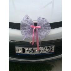 Бантик на машину белый с сиреневым 36 см SvetikFantasy №56.60