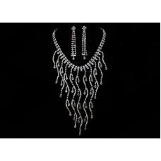 Комплект бижутерии  (колье+серьги) Цвет: Серебро №169.593