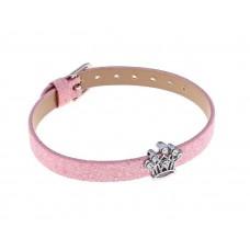 """Браслет """"Игра слов"""" корона, блестящий, цвет розовый 1,4х19см №2072.35"""
