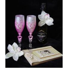 Бокалы для шампанского розовые пара №135.266