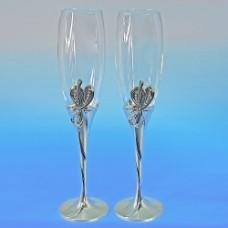 Свадебные бокалы с бантиками и со стразами 26см №146.2100