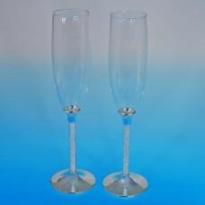Свадебные бокалы с австрийскими стразами в ножке 26см №147.2670