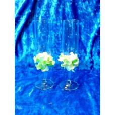 """Бокалы """"Цветы""""   набор 2 штуки цвет:мятный SvetikFantasy №1629.560"""