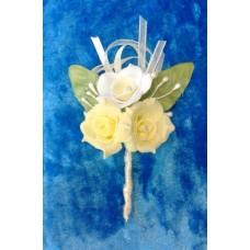 Бутоньерка 11,5х6см SvetikFantasy Цвет: лимон с белым №1647.176