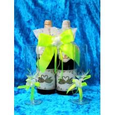 Комплект Украшение на шампанское и на два бокала ( в комплект входит 3 предмета) салатовый SvetikFantasy №1187.435