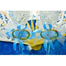 Набор украшений на бокалы голубые 2 штуки №1864.50
