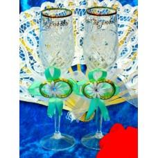 Набор украшений на бокалы мятные 2 штуки №1865.50