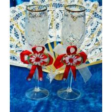 Набор украшений на бокалы красные 2 штуки №1866.50